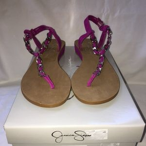 NEW Jessica Simpson Women 7M Pink Suede Sandal